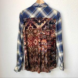 Tolani Plaid Velvet Back Panel Shirt Size XS NWOT